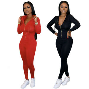 Sexy Women Long Sleeves Bodycon Casual Street Style Night Club Zipper Jumpsuits