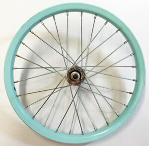 "16"" x 1.75"" Front Steel bicycle wheel w/ Aqua rim, 28 spokes & 5/16 Axle"