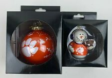 "NEW Set of 2 NCAA Clemson Tigers Christmas 3"" Ornaments Glass Ball & Snowman"