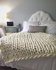 64 x 80in, US Top Quality Merino Wool Chunky Knit Blanket, Hand Made Soft Throw