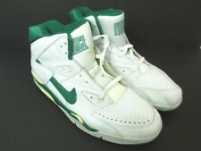 Vintage NIKE AIR FORCE High Top Leather White/Green 910709 ST Shoes READ Sz 15