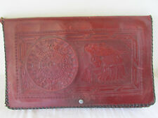 Vintage Hand Tooled Mexican Leather Purse Aztec Calendar Design Circa 1944