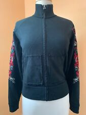 women's black Lucky Brand dragon sweatshirt zip up long sleeves pockets