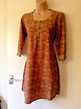 Cotton Curio Indian Cotton Pattern Dress Olive Green Burnt Orange Red Tunic 8/10