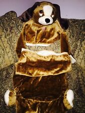 Child WARM 2 pc ZIPPER SOFT BROWN COSTUME PUPPY DOG SLEEPING BAG W/ PILLOW PLUSH