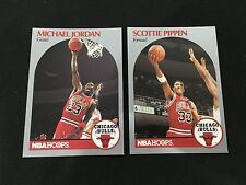 MICHAEL JORDAN & SCOTTIE PIPPEN CHICAGO BULLS 1990 NBA HOOPS BASKETBALL CARDS