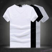 Men V/O Neck Cotton T-shirt Slim Casual Tops Blouse Fitness T-Shirt Plus Size