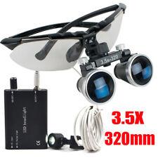 Dental Surgical Binocular Loupes 35x 320mm Optical Glass Amp Led Head Light Lamp