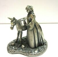 "Vintage Pewter Fantasy Figurine Statue Virgin and Unicorn 3.5"" Mark Locker"