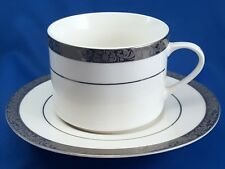 Florida Market Place Silver Scroll Tea Coffee Cup and Saucer Platinum Encrusted