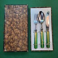 Vtg 20-30's Art Deco BAKELITE Green Butterscotch Child's Fork Knife Spoon W/ Box