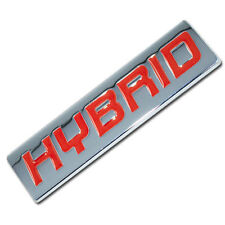 CHROME/RED METAL HYBRID ENGINE RACE MOTOR SWAP EMBLEM BADGE TRUNK HOOD DOOR