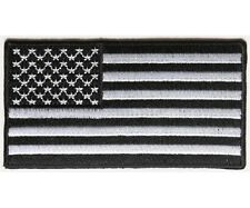 """BLACK and WHITE AMERICAN FLAG 3.5"""" x 1.9"""" iron on patch (4950) Biker Vest (A24)"""