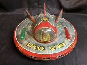 1950s Space Giant Battery Operated Tin Litho Spaceship  UFO Masudaya Japan