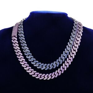 Iced Chain Hip Hop Silver Cuban Men Miami 24K Plated Mens 10MM Link Blue Purple