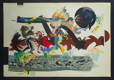 Raymond MORETTI grande Lithographie Originale 1983 JAZZ Nougaro Tenot