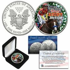 JUSTIFY 2018 TRIPLE CROWN WINNER 1 OZ. AMERICAN SILVER EAGLE! W/H COA & BOX!