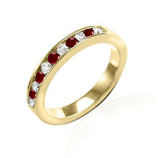 & Ruby Eternity Band Ring #R2037 14k Solid Yellow Gold Genuine Diamond