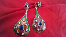 Indian Handmade Ethnic Maroon Green Meenakari AD Stone Party Wear Long Earrings