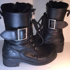 Harley-Davidson Jammie Black Motorcycle Boots Side Zip Lace Up Buckle 7.5M 38.5