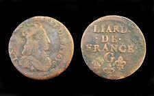 Liard de France 1656 G (Poitiers). 2°Type. Louis XIV°. Cuivre