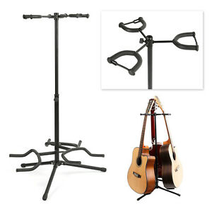 Triple Telescopic Guitar Stand Acoustic/Bass Adjustable Folding Tripod Stand