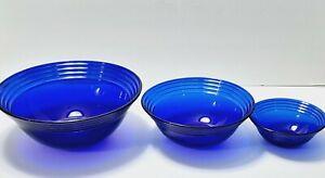 "BORMIOLI ROCCO Cobalt Blue FORUM SAPHIR 3 Bowls 10"" and 8"" 5.5"" RINGS"