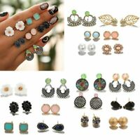 6 Pairs Fashion Rhinestone Crystal Pearl Earrings Set Lady Stud Jewelry Gift