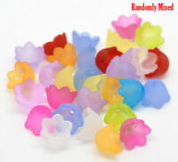 300Pcs Flower Shaped Transparent Acrylic Bead Caps Beads Spacer Random Color New
