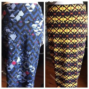 Lularoe Lot Of 2 Cassie Sz Med Skirts, Yellow And  Blue , Bright & Beautiful