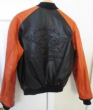 Harley Davidson Black Orange Letterman Leather Jacket Extra Small Great Design