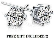 Swarovski Crystal Stud Earrings Sterling Silver W/ free Chanel Gift