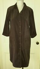 Talbots Petites Stretch Button Up Front Shirt Dress Womens size 14P