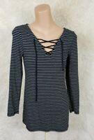 Old Navy Women's Size Medium Vneck Long Sleeve Top Black White Striped Cotton G