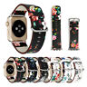 Floral Leather Strap Women Band for Apple Watch SE 40/44mm iWatch Series 6 5 4 3