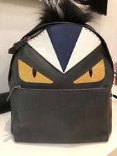 bb673d48ab NWT Authentic FENDI Monster Zaino Stondato Grey & Black Leather & Fur  Backpack