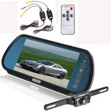 "7"" LCD Vehicle Rear View Backup Mirror Monitor+Wireless 2.4G IR Camera Safety"