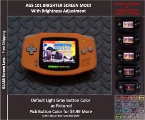 GameBoy Advance GBA Backlit Mod AGS101 LCD with 5 Level Brightness Switch-ORANGE