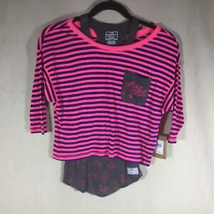 Nike Girls Top Sz M Layered Skater Look Pink Multi Color Tank Crop
