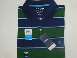 IZOD Advantage Performance Polo Shirt Cool FX Cooling Technology Green Striped