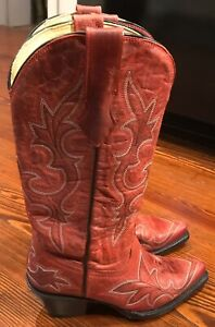 Corral Womens Cowboy Boots 5 M Red Leather Stitched Snip Toe Very Good Condition