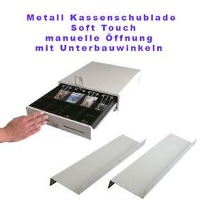 NEUE Vollstahl Kassenschublade manuelle Öffnung Touch mit Unterbauwinkel F:weiss