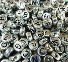100 Silver Alphabet Mixed Letters Flat Round Disc Beads 7x4mm