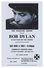 New York Carnegie Hall Concert Poster Featuring Bob Dylan from  1961