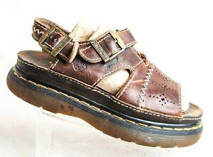 Dr. Martens Vintage 90's Platform Leather Sandals Brown 8 M 41 Made in England