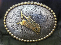 Bucking Bronco Detailed Belt Buckle Silver and Goldtone