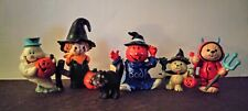 Rare Hallmark Merry Miniatures Halloween 6 Figures Witch Cat Devil Ghost Pumpkin