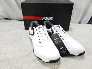 PGM Mens Golf Shoes Waterproof Shoe Fixed Spikes Non-Slip Lace Bk/Wh