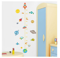 Wall Sticker Solar System Rocket Height Measure Kids Nusery Room Outer Space Sky