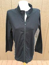 New Chico's Black Baby Leopard Performance Knit Zip-Up Jacket Sz 3 XL 16 18 NWT